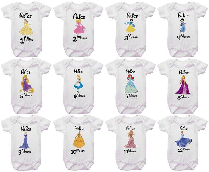 Kit Body Mesversario Princesas Personalizado