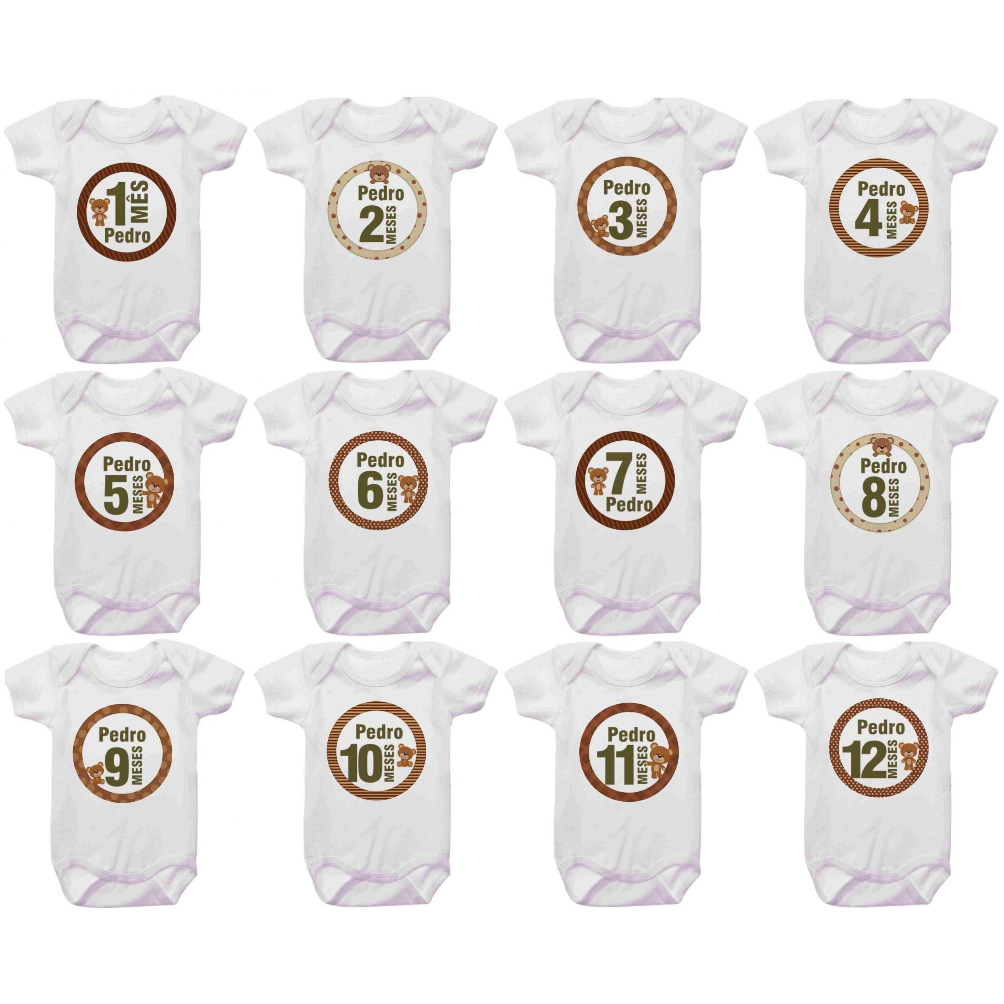 Kit Body Mesversario Ursinho Círculo Números Personalizado