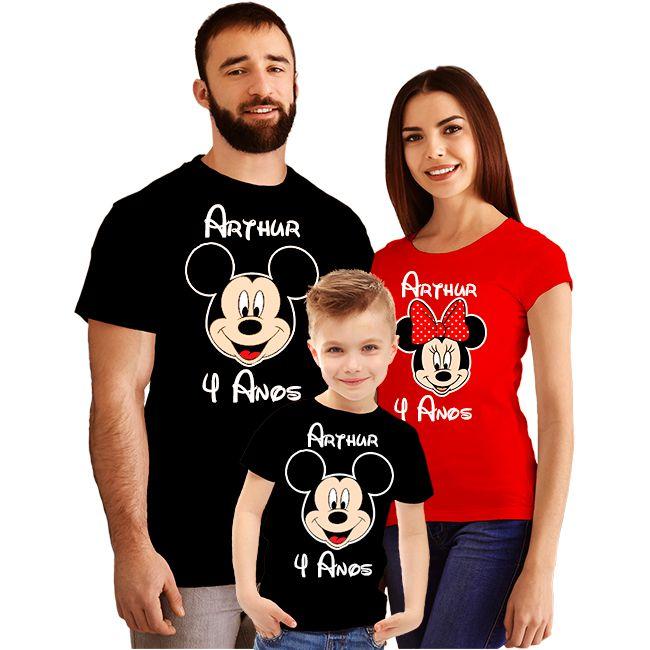 1d054df20 Kit Camiseta Aniversário Personalizada Mickey e Minnie - Empório Camiseteria