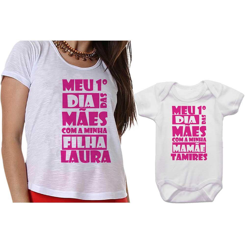 Kit Camiseta e Body Meu Primeiro Dia das Mães CA0645