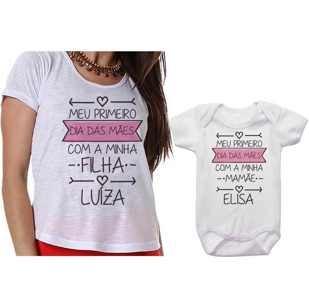 57cc66eb21ab28 Kit Camiseta e Body Meu Primeiro Dia das Mães CA0648