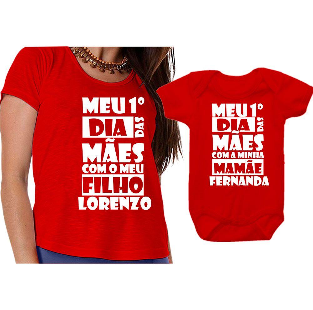 699423e1a8203f Kit Camiseta e Body Meu Primeiro Dia das Mães CA0652