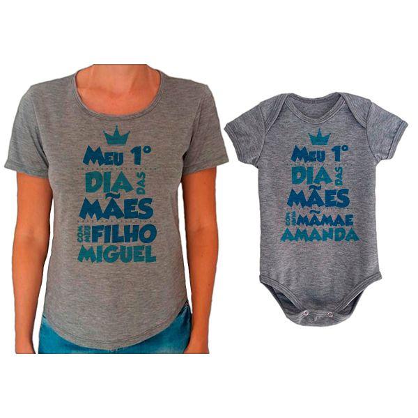 Kit Camiseta e Body Meu Primeiro Dia das Mães CA0653