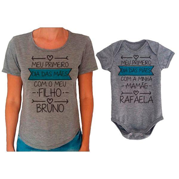 Kit Camiseta e Body Meu Primeiro Dia das Mães CA0654