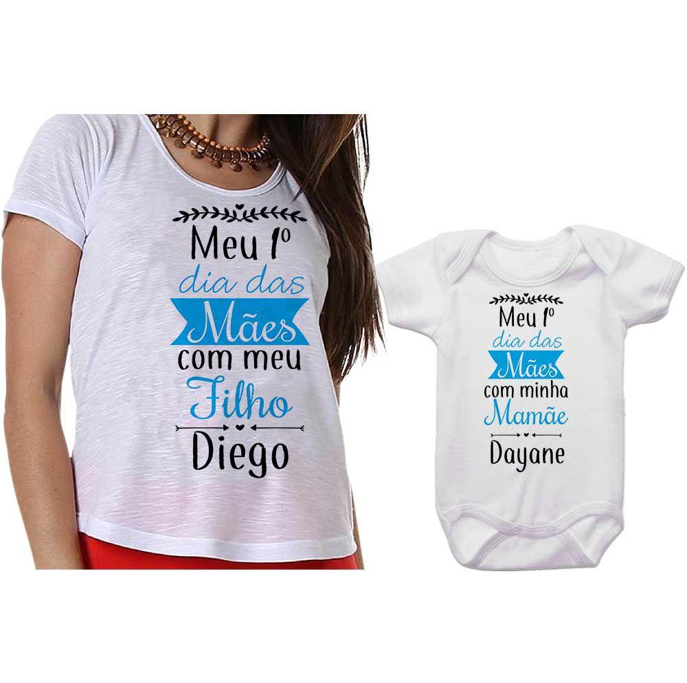 Kit Camiseta e Body Meu Primeiro Dia das Mães CA0656