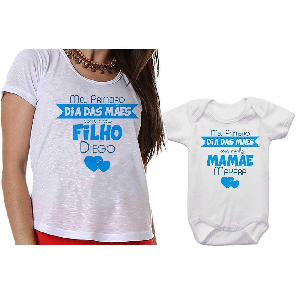 Kit Camiseta e Body Meu Primeiro Dia das Mães CA0657