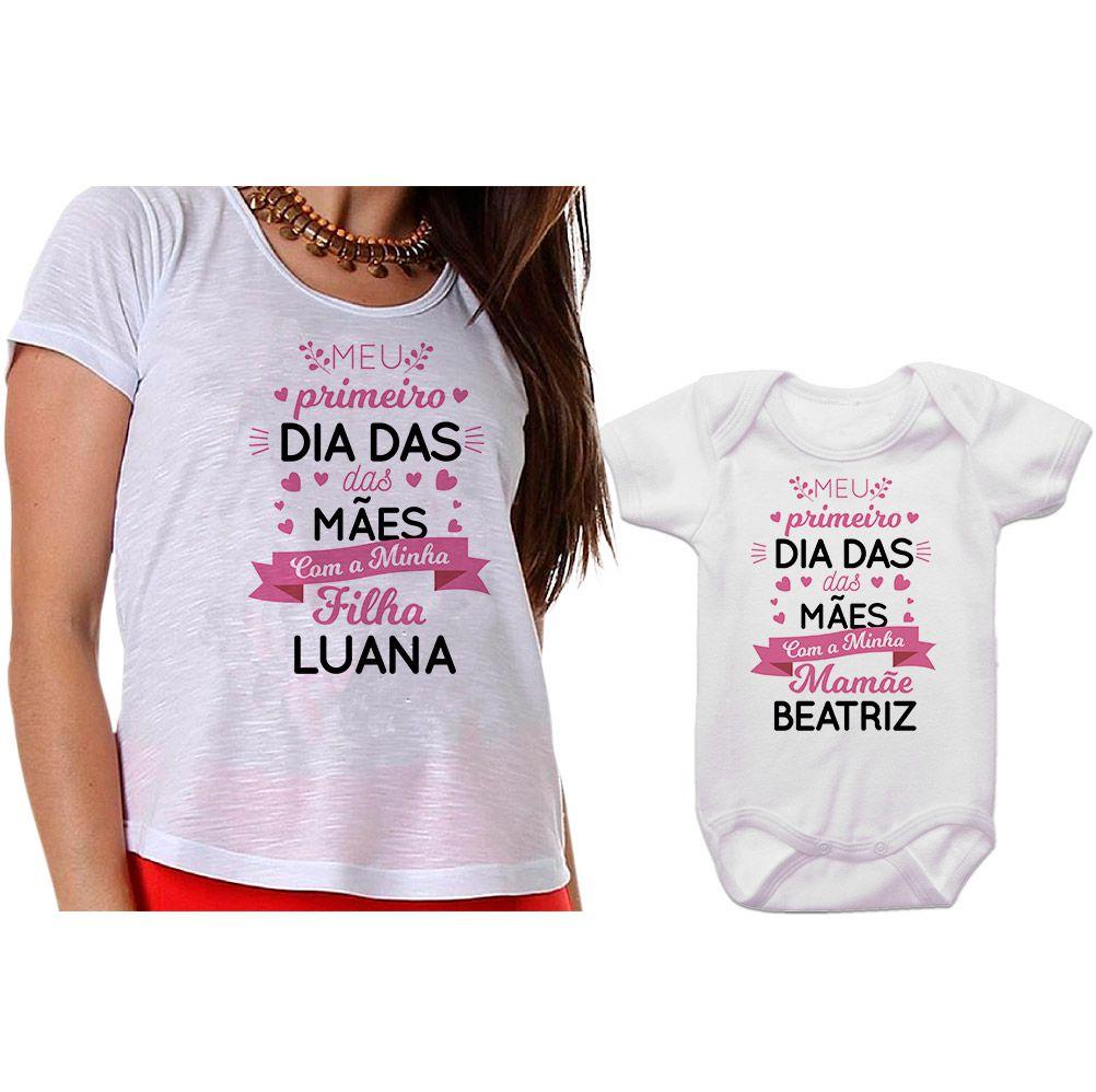 Kit Camiseta e Body Meu Primeiro Dia das Mães CA0660