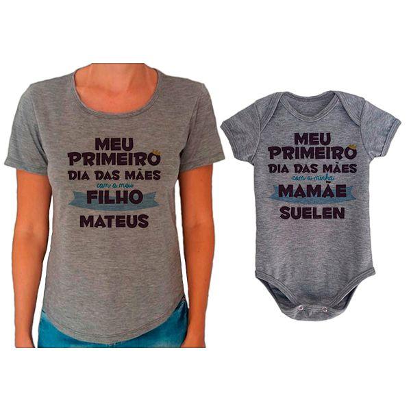 Kit Camiseta e Body Meu Primeiro Dia das Mães CA0661