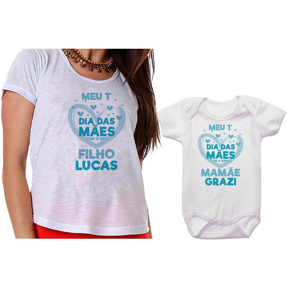 Kit Camiseta e Body Meu Primeiro Dia das Mães CA0664