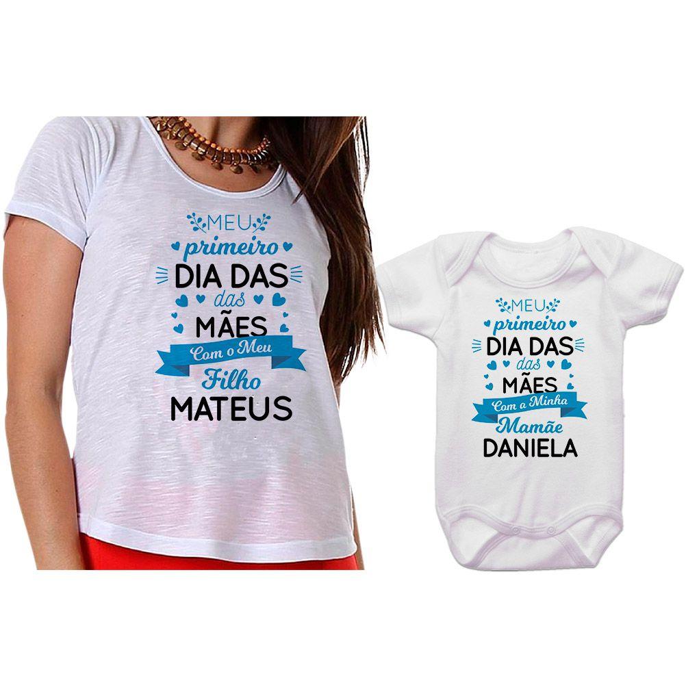 Kit Camiseta e Body Meu Primeiro Dia das Mães CA0665