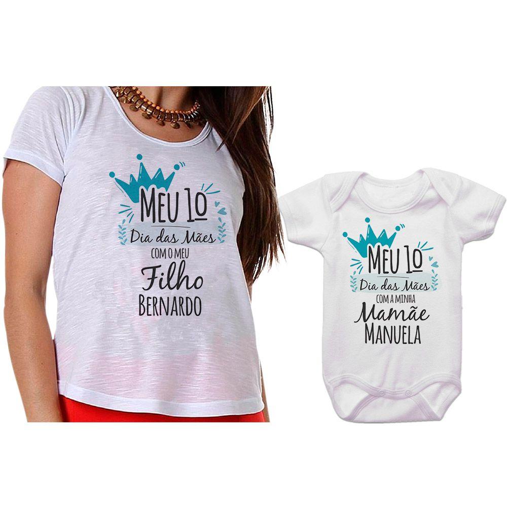 Kit Camiseta e Body Meu Primeiro Dia das Mães CA0666