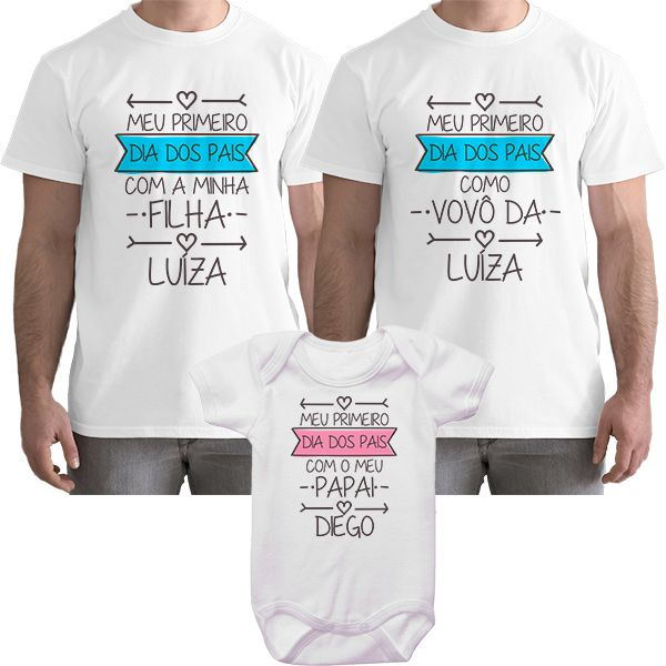 Kit Camiseta e Body Meu Primeiro Dia dos Pais CA0708