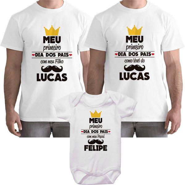 Kit Camiseta e Body Meu Primeiro Dia dos Pais CA0826