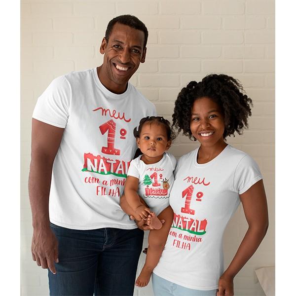 Kit Camiseta e Body Nosso Primeiro Natal - CA1081
