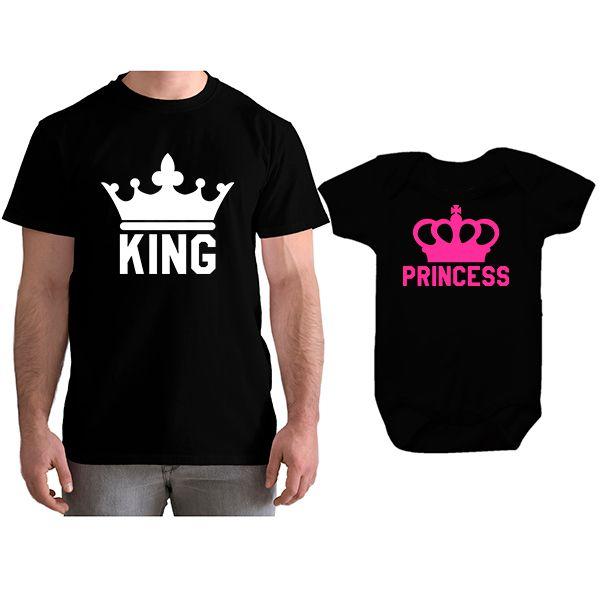 Kit Camiseta e Body Personalizadas Tal Pai Tal Filha Melhor Papai do Mundo CA0761