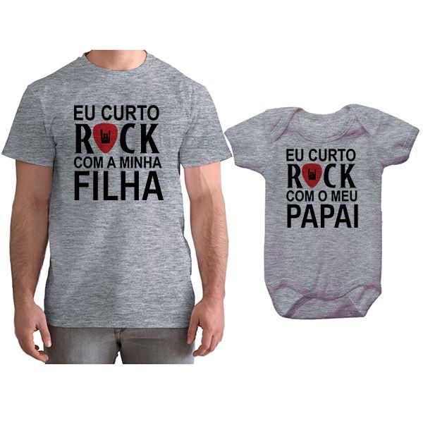 Kit Camiseta e Body Tal Pai Tal Filha Eu Curto Rock com o Meu Papai CA0798