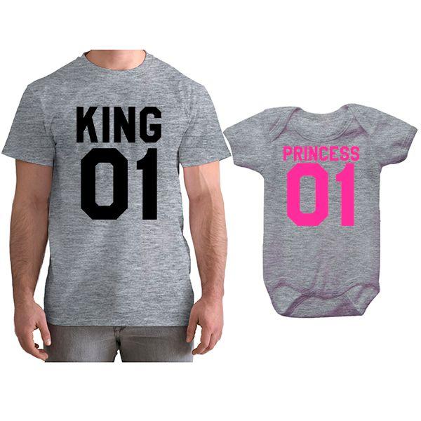 Kit Camiseta e Body Tal Pai Tal Filha King e Princess CA0765