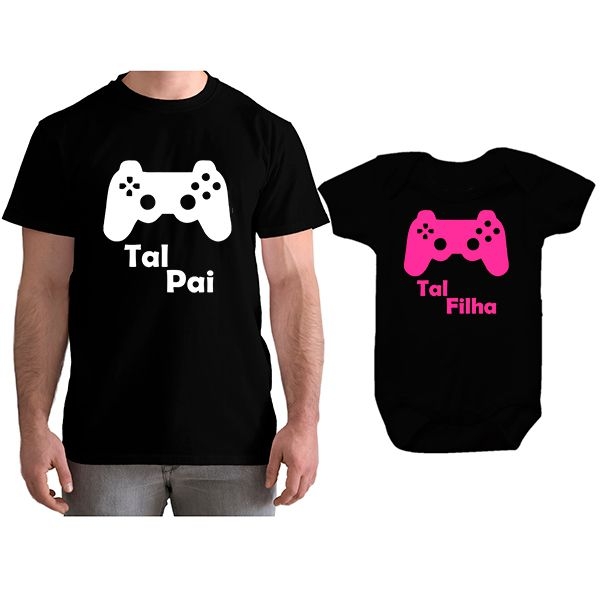 Kit Camiseta e Body Tal Pai Tal Filha VÍdeo Game PS4 CA0769