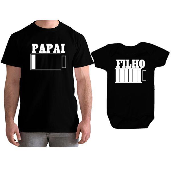 Kit Camiseta e Body Tal Pai Tal Filho Bateria Carregando CA0742