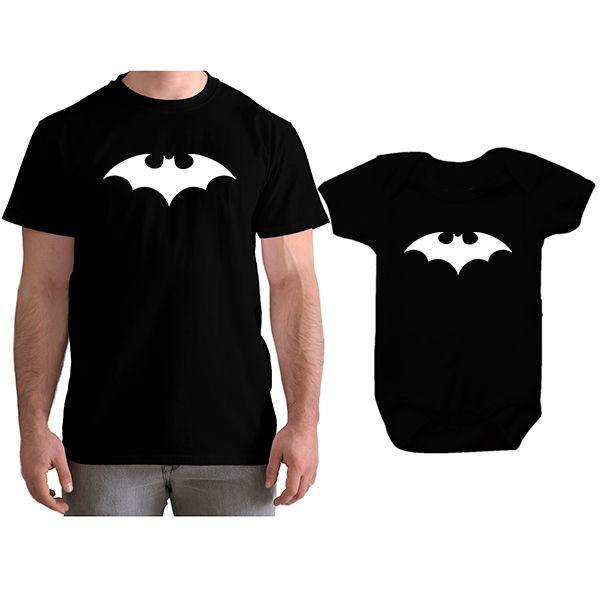 Kit Camiseta e Body Tal Pai Tal Filho Batman CA0743