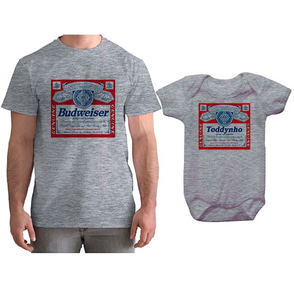 Kit Camiseta e Body Tal Pai Tal Filho Cerveja Budweiser CA0781