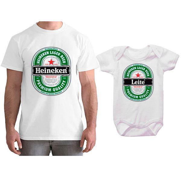 Kit Camiseta e Body Tal Pai Tal Filho Cerveja Heineken CA0782
