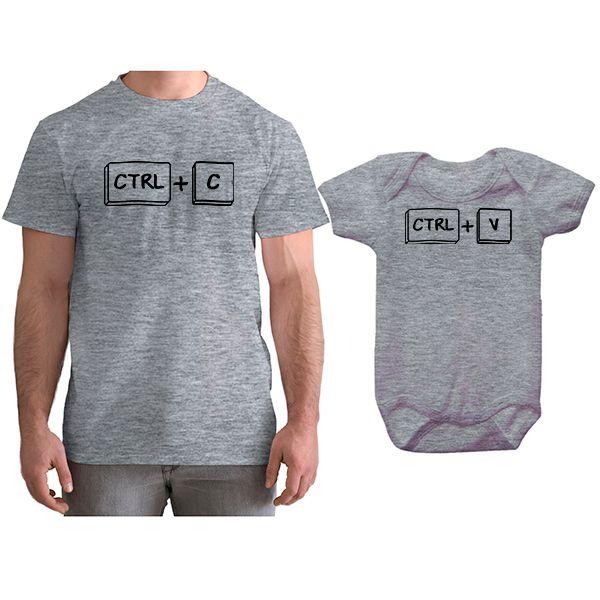 Kit Camiseta e Body Tal Pai Tal Filho Ctrl C Ctrl V CA0745