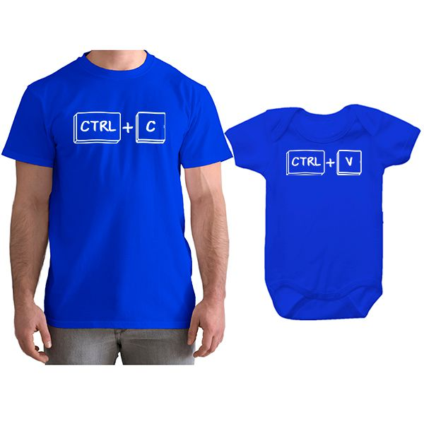2a73eda4eb7ccf Kit Camiseta e Body Tal Pai Tal Filho Ctrl C Ctrl V CA0745