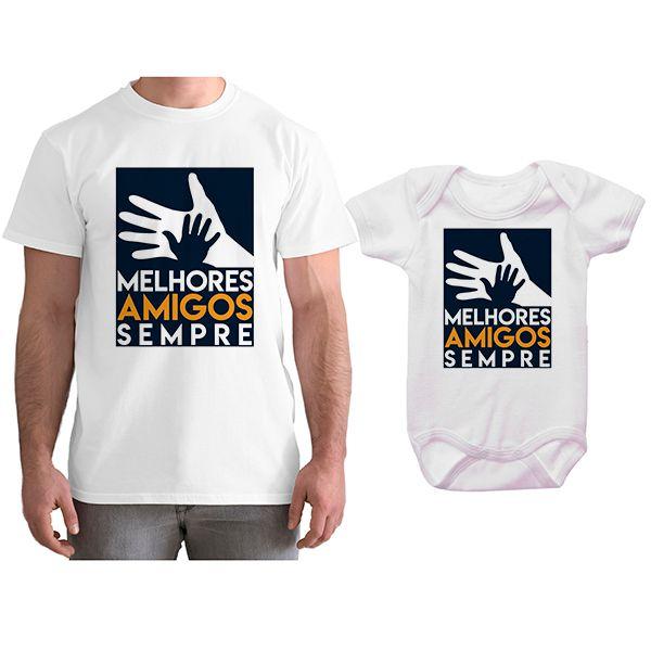 Kit Camiseta e Body Tal Pai Tal Filho Melhores Amigos Sempre CA0789