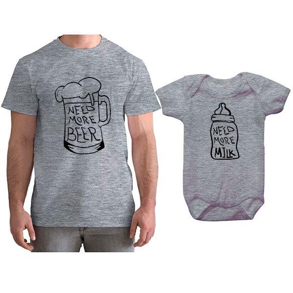 Kit Camiseta e Body Tal Pai Tal Filho Need More Beer CA0790