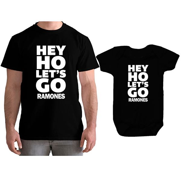 Kit Camiseta e Body Tal Pai Tal Filho Ramones Hey Ho Let´s Go CA0840