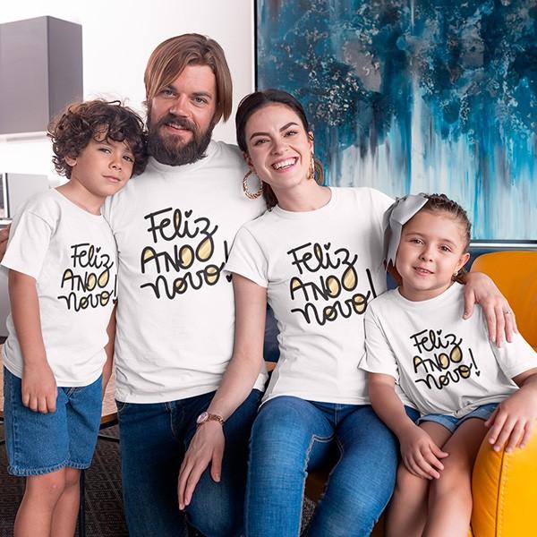 Kit Camiseta Família Ano Novo - 4 Peças - CA1102