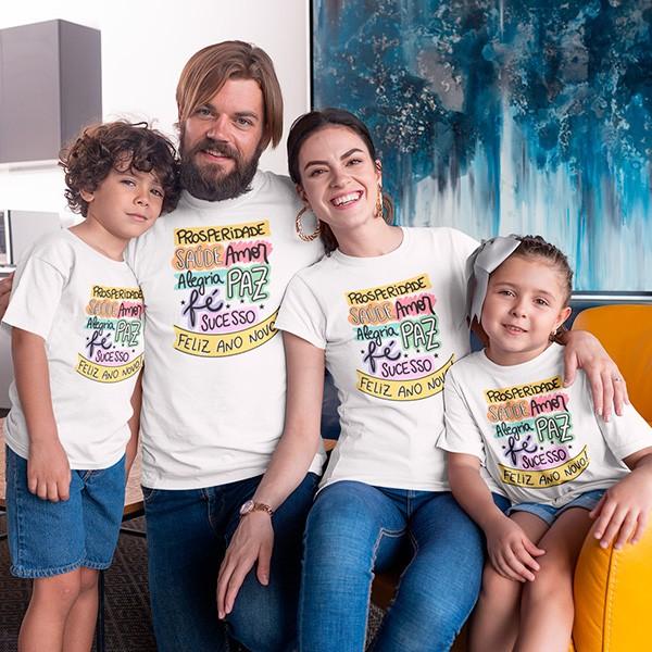 Kit Camiseta Família Ano Novo - 4 Peças - CA1104