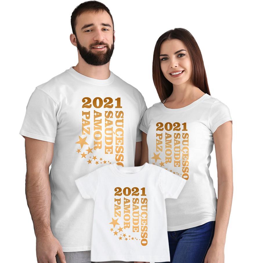 Kit Camisetas 2021 Sucesso Saúde Amor e Paz CA0891