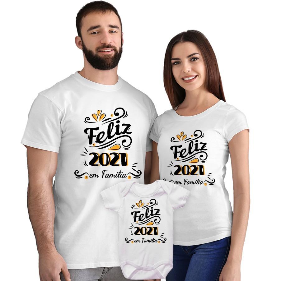 Kit Camisetas e Body Feliz 2021 em Família CA0869