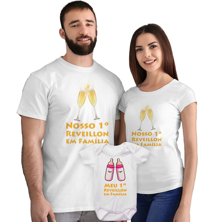 Kit Camisetas e Body Nosso Primeiro Ano Novo em Família CA0865