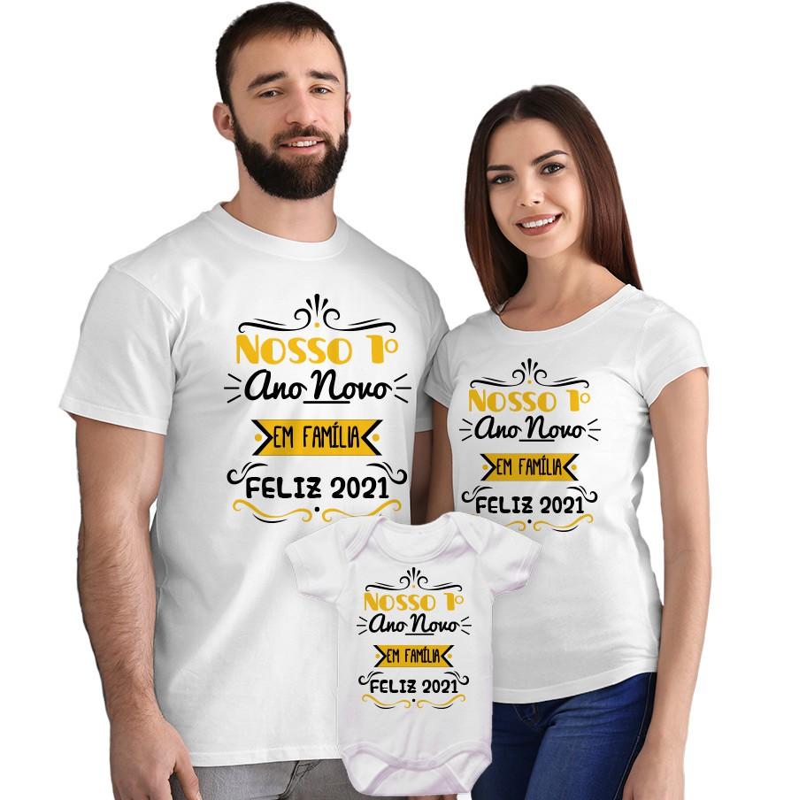 Kit Camisetas e Body Nosso Primeiro Ano Novo em Família CA0871