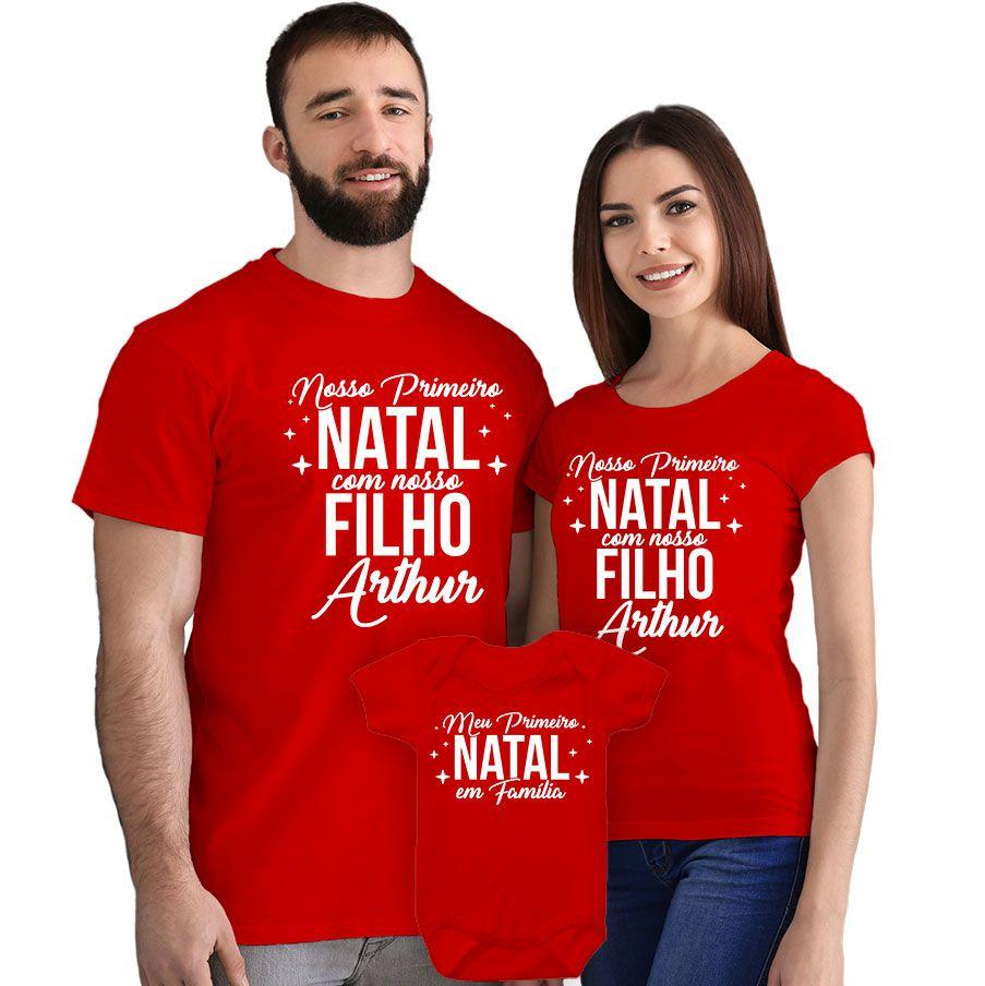 Kit Camisetas e Body Nosso Primeiro Natal CA0890