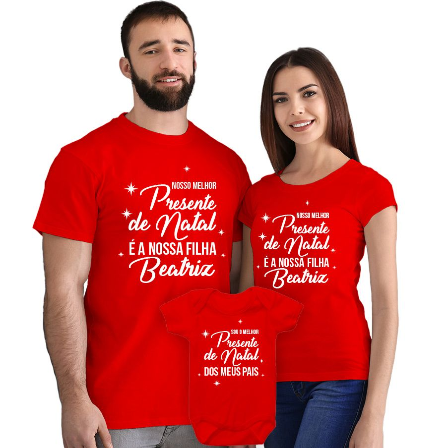 Kit Camisetas e Body Nosso Primeiro Natal CA0893