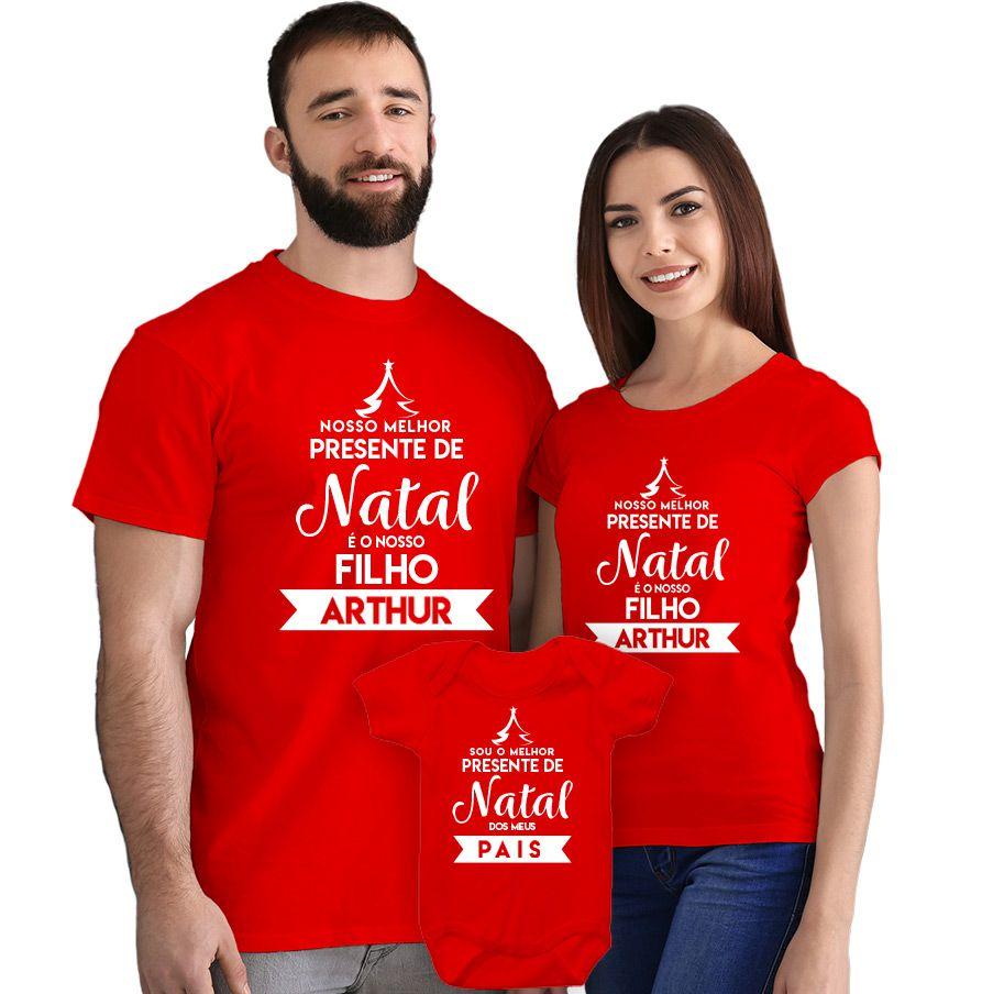 Kit Camisetas e Body Nosso Primeiro Natal CA0902