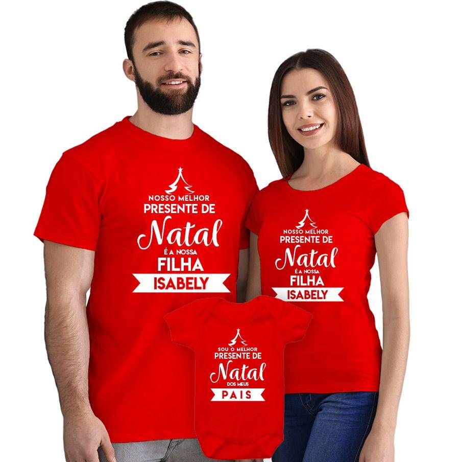 Kit Camisetas e Body Nosso Primeiro Natal CA0903
