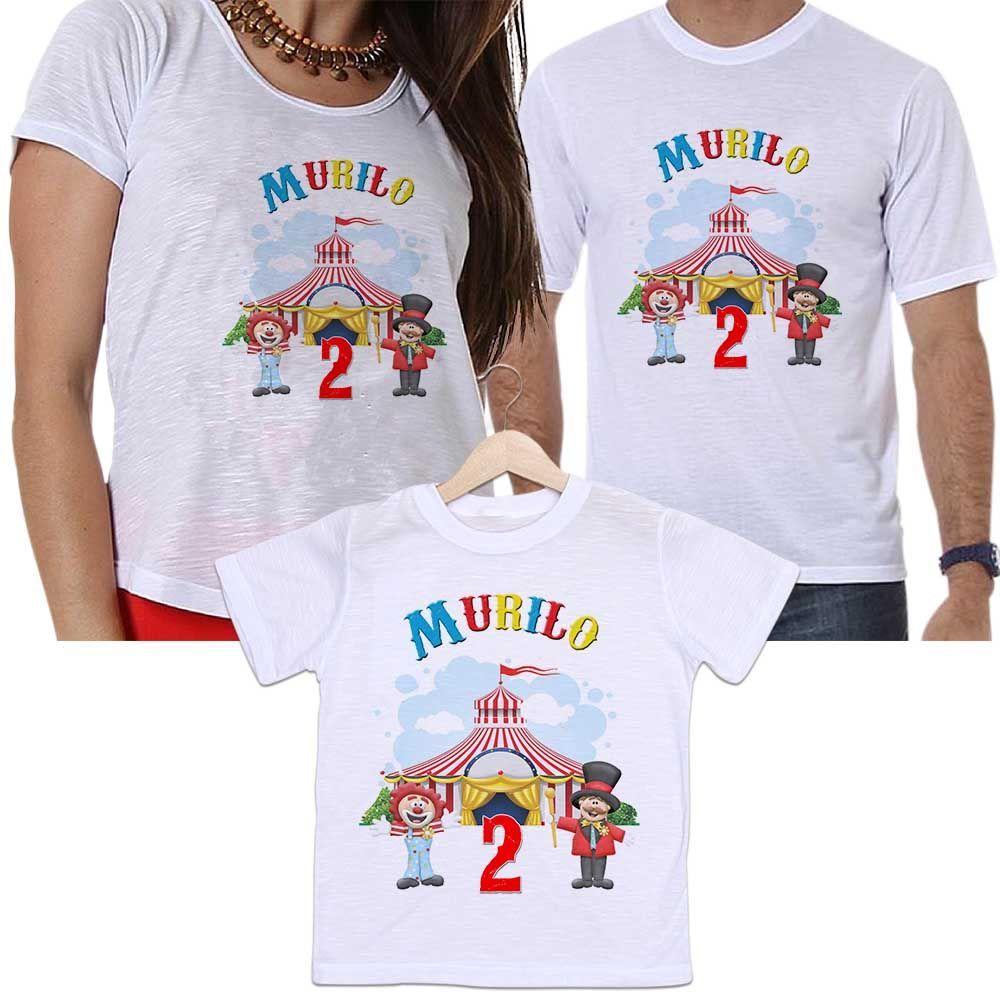 Kit Camisetas Tal Pai, Tal Mãe e Tal Filho Aniversário Personalizada Circo