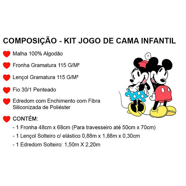 Kit Jogo de Cama Solteiro Mickey Amarelo - 3 Peças