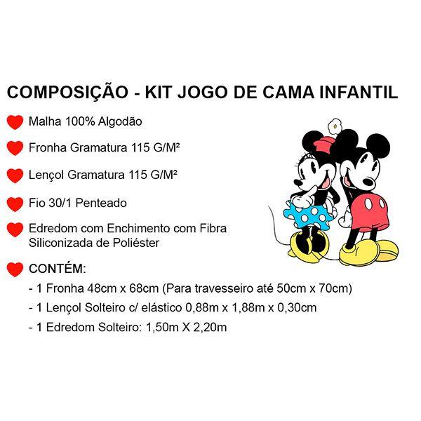 Kit Jogo de Cama Solteiro Minnie Laço Poá - 3 Peças
