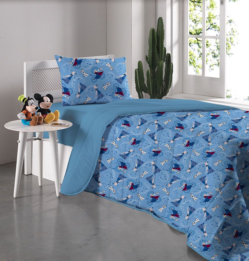 Kit Jogo de Cama Solteiro Frozen Disney Amizade Azul - 3 Peças