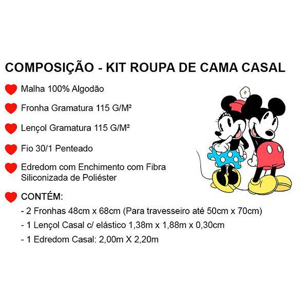 Kit Jogo de Cama Casal Mickey Azul Marinho - 4 Peças