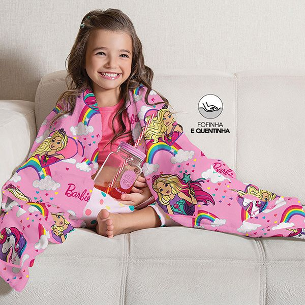 Manta Fleece Infantil Barbie Unicórnio - 1 Peça - FR0993