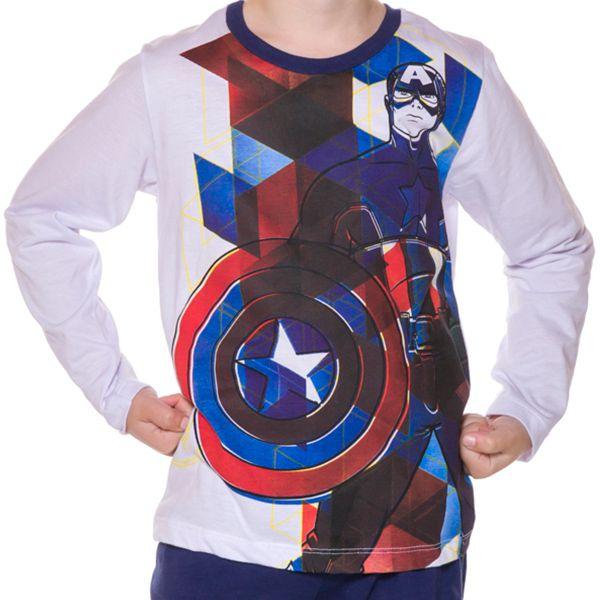 Pijama Infantil Manga Longa Capitão América
