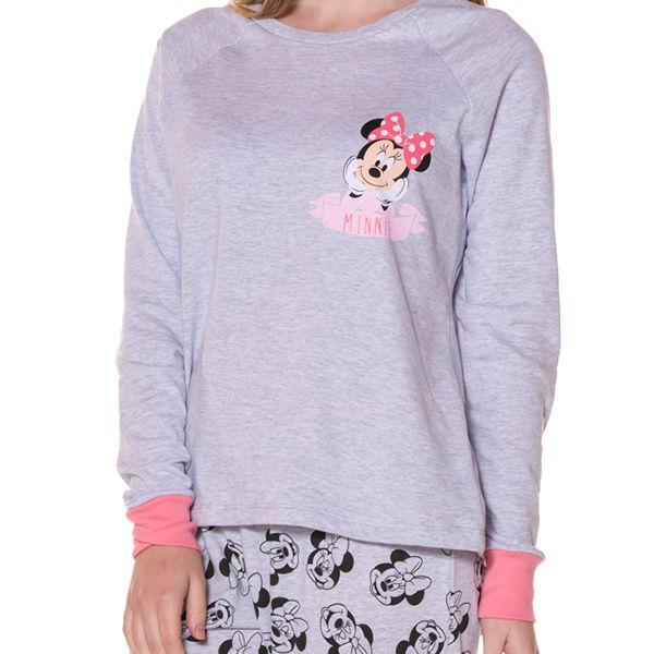 Pijama Moletinho Adulto Manga Longa Minnie