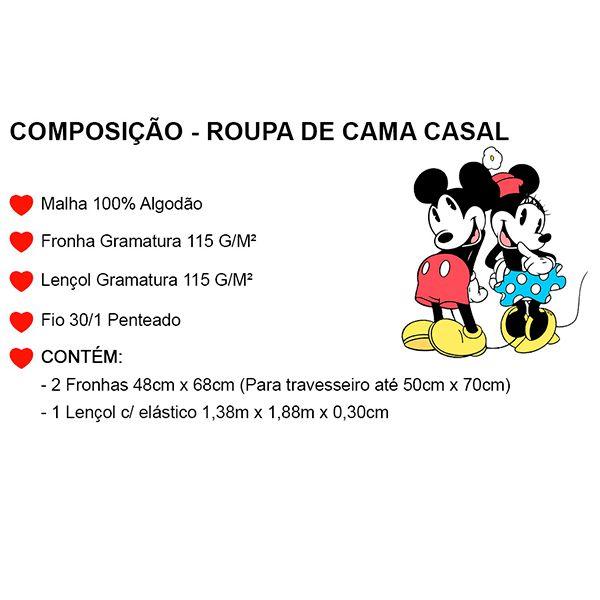 Jogo de Cama Casal Mickey Azul Marinho - 3 Peças